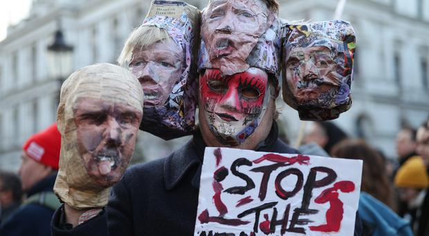 A protest by the Stop the War Coalition in Whitehall (Yui Mok/PA)