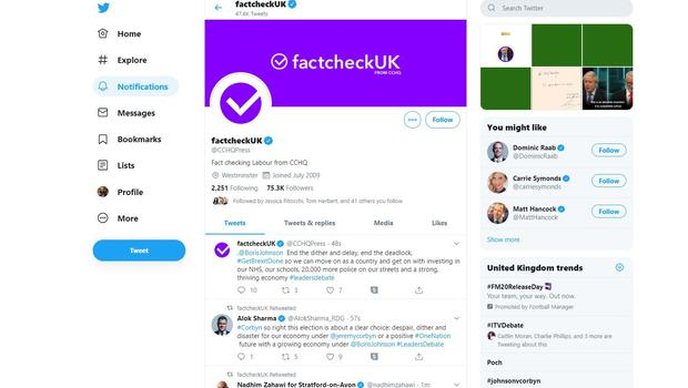 The CCHQ press office Twitter account rebranded as factcheckUK (Twitter)