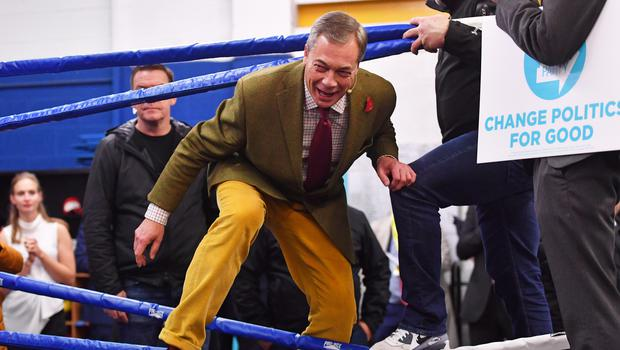 Brexit Party leader Nigel Farage climbs into the ring (Jacob King/PA)
