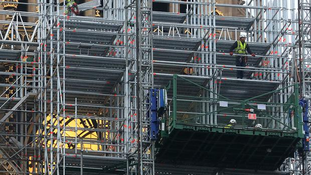 Scaffolding is in place at the tower for refurbishment work (Gareth Fuller/PA)