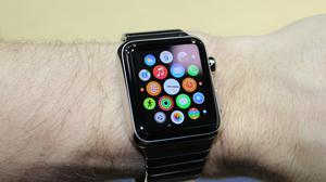 A new Apple Watch is tried out at an Apple event in Berlin, Germany after the computer company presented new products.