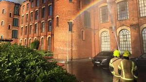 Handout photo issued from the Twitter feed of Derbyshire Fire and Rescue Service showing firefighters tackling a blaze at a block of flats in Nottingham (Handout/PA)