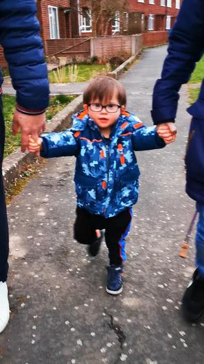 Tom Albrighton, 2, who is taking on a walking challenge ahead of World Down Syndrome Day (Kelly Albrighton)