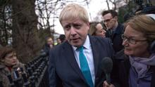 Boris Johnson speaking to the media outside his home, where he said he will campaign for Britain to leave the EU
