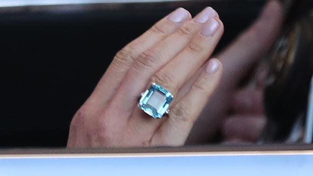 Close up of the ring worn by the newly married Duchess of Sussex (Steve Paresons/PA)