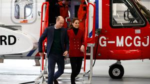 The Duke and Duchess of Cambridge during a visit to Caernarfon Coastguard and Rescue Helicopter Base in North Wales (Phil Noble/PA)