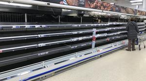 Empty shelves in a Tesco Extra store in Worthing, West Sussex (Michael Drummond/PA)