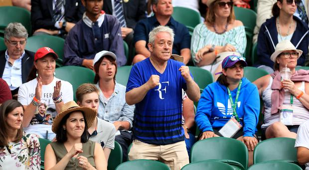 John Bercow watches Roger Federer in action at Wimbledon (Mike Egerton/PA)