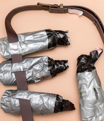 Bloodied: the fake suicide belts
