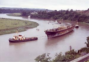The SS Great Britain is towed up the River Avon towards Bristol (SS Great Britain Trust/PA)