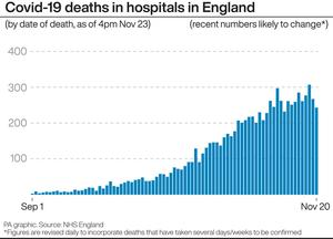 Covid-19 deaths in hospitals in England (PA)