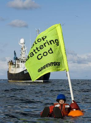 Greenpeace have previously tried to stop a fishing trawler in the North Sea (Christian Aslund/PA)