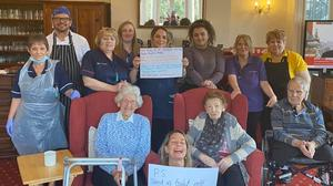 Residents at St Vincent's Retirement Home on the Isle of Wight send messages to their families via social media (St Vincent's Retirement Home/PA)