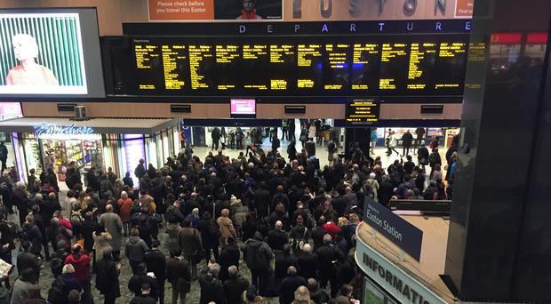 The most overcrowded train in England and Wales in autumn 2018 was a service from London Euston to Crewe (Sally Wardle/PA)