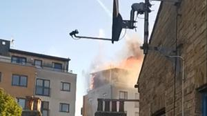 Firefighters are tackling a blaze in a sixth-floor flat (Kirstie Hanrahan/PA)