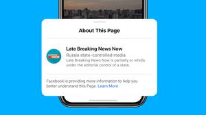 Facebook's new labels for state-run news pages (Facebook/PA)