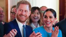 The Duke and Duchess of Sussex cheer during a marriage proposal at the Endeavour Fund Awards at Mansion House in London (Paul Edwards/The Sun/PA)