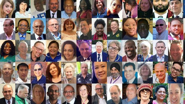 Some of the victims working within the NHS and care services (PA composite)