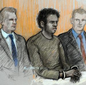 A court artist sketch of Michael Adebowale flanked by two police officers in the dock (Elizabeth Cook /PA)