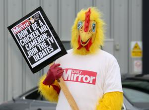 The Daily Mirror's chicken has become a frequent sight in election campaign and this message to David Cameron was from the 2015 contest (Chris Radburn/PA)
