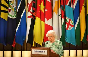The Queen gives the opening address at the Commonwealth Heads of Government Meeting staged in the UK in 2018 (Dominic Lipinski/PA)