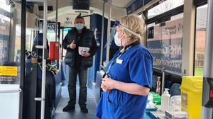 The mobile vaccination unit targets people who are unable to get to appointments (Brighton and Hove Buses/PA)