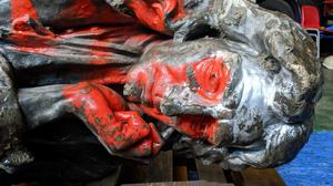 The statue of Edward Colston being examined by experts at Bristol's M Shed (Bristol Culture/PA)