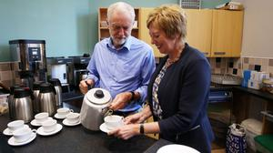 The Labour leader stated his party's commitment to older people as he attended a pensioners' tea party (David Cheskin/PA)