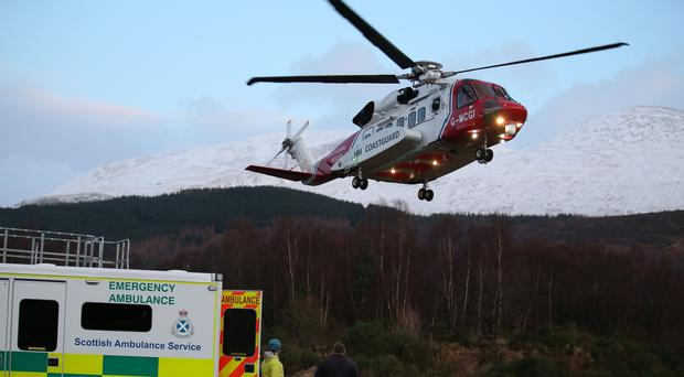The woman had to be winched off the mountainside in Monday's rescue (Andrew Milligan/PA)