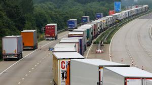 Lorries parked on the M20 in Ashford, Kent, under Operation Stack