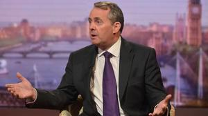 Handout photo issued by the BBC of former defence secretary Liam Fox appearing on the BBC One current affairs programme, The Andrew Marr Show.
