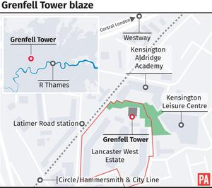 The location of Grenfell Tower in London (PA graphic)