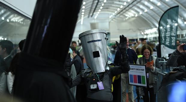 Lord Buckethead (left) and Count Binface during the count at the Prime Minister's Uxbridge and Ruislip South constituency in the 2019 General Election (PA)