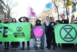Climate change activists blocked roads during the demo (Yui Mok/PA)