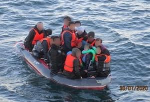 Suspected migrants intercepted by French authorities in the Channel on Thursday (Maritime Prefecture of the Channel and the North Sea)