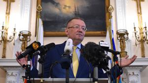 Russian ambassador to the UK Alexander Vladimirovich Yakovenko speaking at a news conference at the Russian Embassy in London (Kirsty O'Connor/PA)