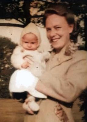 Hilda Churchill holding her daughter Margaret in late 1945 or early 1946 (Family handout/PA)