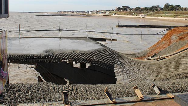 Part of Clacton Pier that has collapsed into the sea during structural work to prepare for the installation of a new rollercoaster (Clacton Pier/PA).