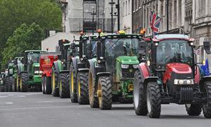 A demonstration organised by Save British Farming about threats to UK food standards in future trade deals (Stefan Rousseau/PA)