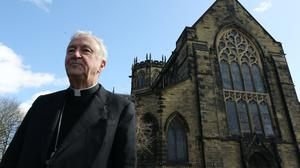 Cardinal Vincent Nichols, Archbishop of Westminster, outside the Church of St Michael in Newcastle (Owen Humphreys/PA)