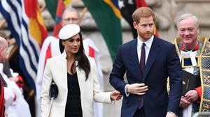 Prince Harry and Meghan Markle depart following the Commonwealth Service at Westminster Abbey, London, in 2018 (Joe Giddens/PA)