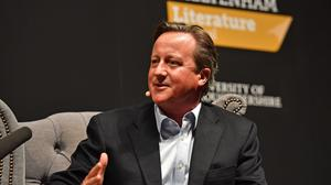 David Cameron speaking during the Cheltenham Literature Festival at Cheltenham Racecourse. His accounts show the former PM made more than £800,000 in 2019. (Jacob King / PA)