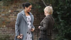 The Duchess of Sussex arrives for a visit to the Royal Variety Charity's residential nursing and care home, Brinsworth House, in Twickenham, south-west London (Andrew Matthews/PA)