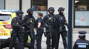 Armed police at the Royal Sussex County Hospital in Brighton (Gareth Fuller/PA)