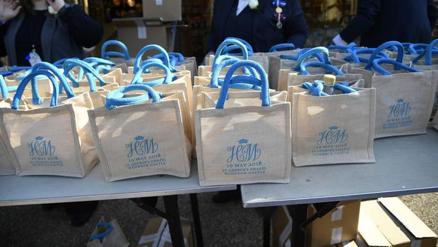 Gift bags for guests at the wedding (Toby Melville/PA)