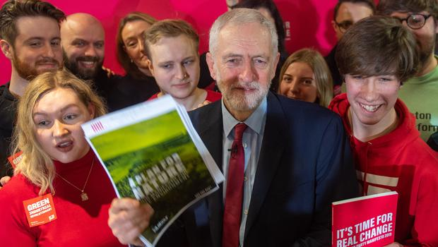 Labour Party leader Jeremy Corbyn with young climate change activists (Joe Giddens/PA)