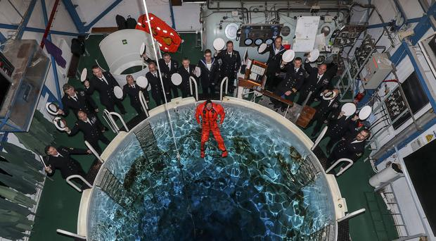 Submariners inside the Submarine Escape Training Tank (SETT), Fort Blockhouse Gosport for the final time. (Royal Navy/PA)