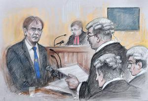 Court artist sketch of Sir Cliff giving evidence (Elizabeth Cook/PA)
