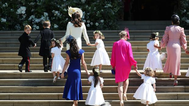 The Duchess of Cambridge arrives with the bridesmaids at St George's Chapel (Jane Barlow/PA)