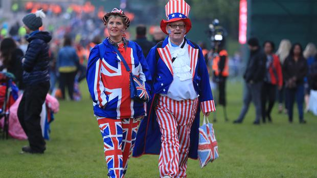 Dressed to impress: fans donned their wedding finery for the occasion (Mike Egerton/PA)